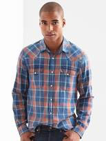 Gap Denim plaid standard fit western shirt