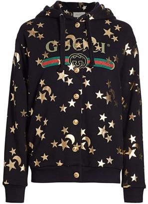 Gucci Heavy Jersey Star & Moon Logo Hoodie