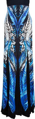 Roberto Cavalli Multicolor Printed Jersey and Mesh Panelled Maxi Skirt L