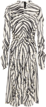 Marni Gathered Printed Crepe Dress