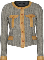 Isabel Marant Kacie leather-trimmed wool-blend tweed jacket