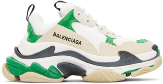Balenciaga Green and White Triple S Sneakers