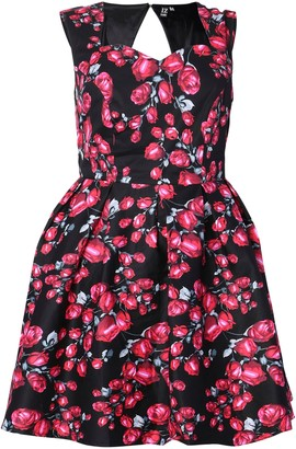 Evans **Izabel Curve Red Floral Fit & Flare Dress