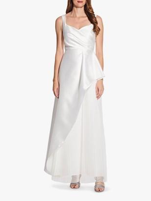 Adrianna Papell Mikado Satin Pleated Maxi Dress