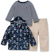 Little Me Baby Boys Three-Piece Anchor-Print Jacket, Striped Tee and Pants Set