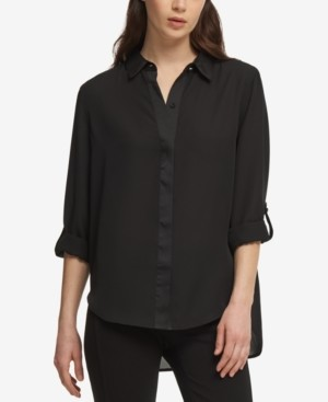 DKNY Cuffed-Sleeve Hidden-Placket Blouse