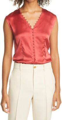 Tailored by Rebecca Taylor Sleeveless Charmeuse Top