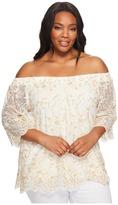 Karen Kane Plus Plus Size Off the Shoulder Embroidery Top