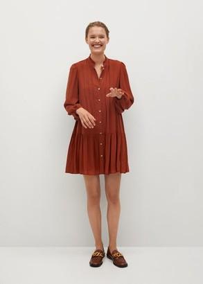 MANGO Pleated detail dress russet - 2 - Women