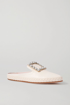 Roger Vivier Lounge Crystal-embellished Leather Slippers - White
