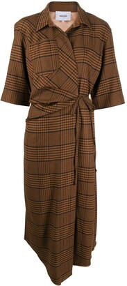 Nanushka Lais plaid wrap dress