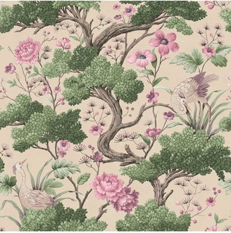 Crane Bird Rose Pink Cream Wallpaper