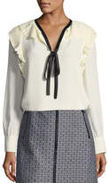Tory Burch Diana Tie-Neck Ruffled Silk Georgette Top