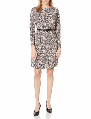 Sam Edelman Women's Long Sleeve Belted Plisse Shift Dress 6 Black/White