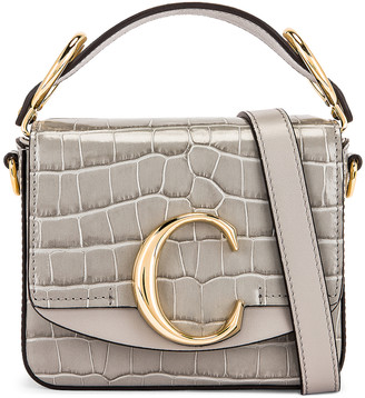 Chloé Mini C Embossed Croc Box Bag in Stormy Grey | FWRD