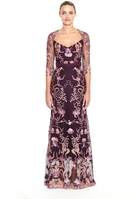 Marchesa Notte Embroidered Guipure Lace Gown