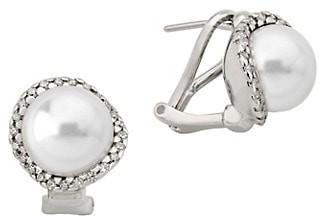 Majorica Sterling Silver, 10MM White Pearl & Cubic Zirconia Stud Earrings