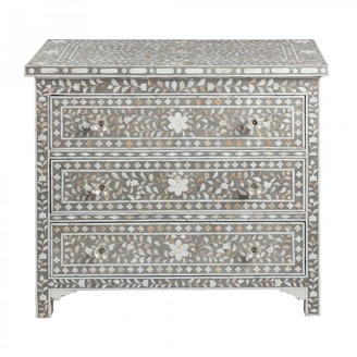 Mother of Pearl Jamelia Inlay 3 Drawer Chest Floral Grey