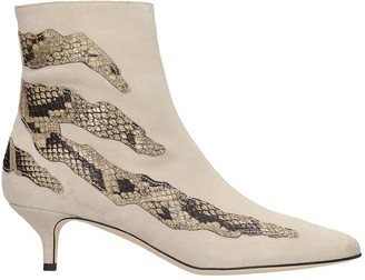 Couture Gia GIA High Heels Ankle Boots In Beige Suede