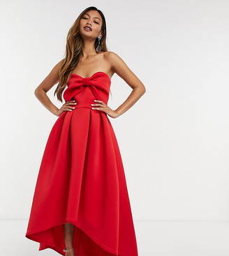 True Violet oversized bow high-low midi dress in red