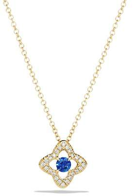 David Yurman Venetian Quatrefoil Necklace with Blue Sapphire and Diamonds in 18K Gold