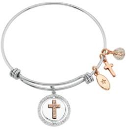 """Unwritten Faith Hope Love"""" Cross Bangle Bracelet in Stainless Steel & Rose Gold-Tone"""