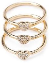 Forever 21 Rhinestone Heart Ring Set