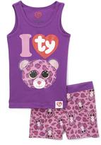 Intimo Purple Beanie Pajama Set - Girls