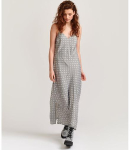 Essentiel Antwerp Veva Grey Polka Dot Slip Dress - 34