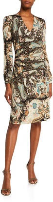 Etro Starry Night Paisley Jersey Wrap Dress