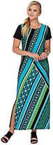 Bob Mackie Bob Mackie's Short Sleeve Printed Knit Maxi Dress with Side Slits