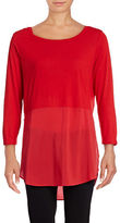 Two By Vince Camuto Long Sleeve Mixed Media Crew Neck Tunic