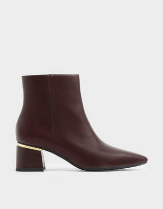 Charles & Keith Metal Accent Block Heel Ankle Boots