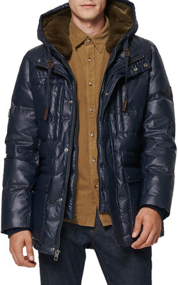 Andrew Marc Men's Quilted Bib-Front Jacket w/ Faux Fur