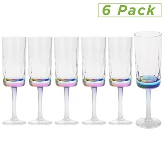 clear Mind Reader 6 Oz Rainbow Champagne Flute, Acrylic Drinking Glass, Modern Wine Glass Shatter-Resistant Plastic Tumbler, Kitchenware, Drinkware, Pack of 6