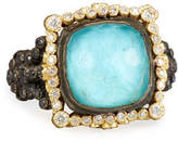 Armenta Old World Midnight Cushion-Cut Doublet Ring with Diamonds