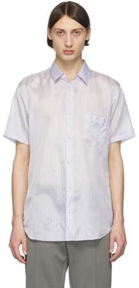 Comme des Garçons Shirt White and Blue Striped Cupro Short Sleeve Shirt
