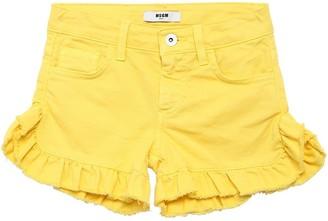 MSGM Ruffled Hem Stretch Cotton Denim Shorts