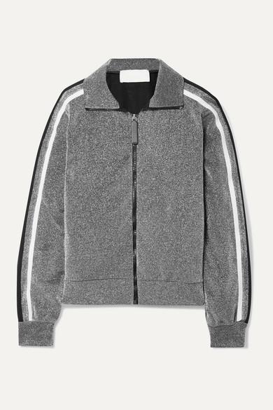 NO KA 'OI NO KA'OI - Attitude Striped Metallic Jersey Track Jacket - Silver