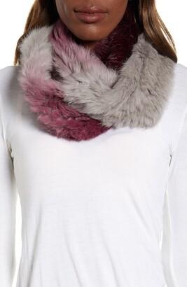 Love Token Ombre Genuine Rabbit Fur Infinity Scarf