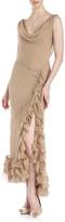 Haute Hippie Cowl-Neck Cascade Gown