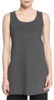 Lafayette 148 New York Sleeveless Scoop-Neck Striped Tunic, Black Multi, Plus Size