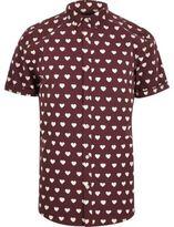 River Island MensRed heart print short sleeve shirt