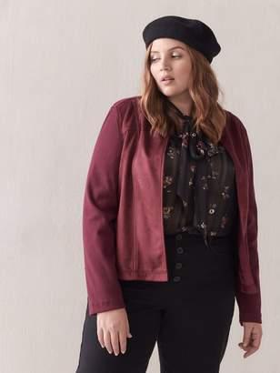 Faux Suede Mxed-Media Jacket - Addition Elle
