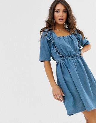 Asos DESIGN denim square neck frill smock dress in blue