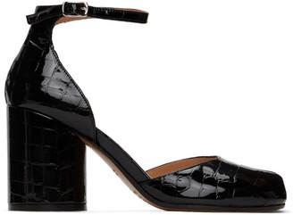 Maison Margiela Black Croc Ankle Strap Heels