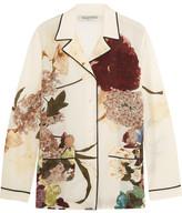 Valentino Floral-print Silk Crepe De Chine Shirt - Ecru
