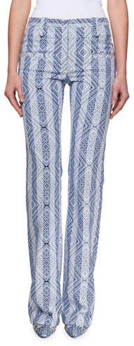Altuzarra Serge Diamond-Jacquard High-Waist Pants