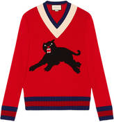 Gucci Wool sweater with panther intarsia