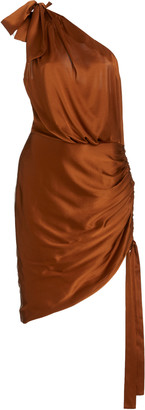 Retrofãate RetrofAte Nadia One-Shoulder Stretch-Silk Mini Dress